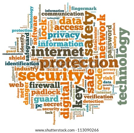 Internet security info-text graphics and arrangement concept on white background (word cloud)