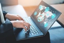 Internet security, online privacy concept, Abstract image of business woman using laptop under protection of encyption of data on internet