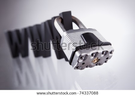 Internet security: Three black wooden W characters with padlock attached isolated on grey background. - stock photo