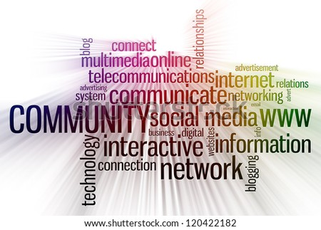 internet services info-text word cloud with colors effects
