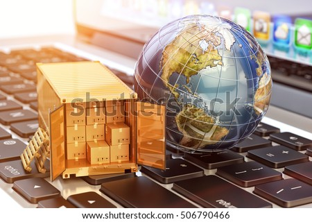 Internet shopping and e-commerce, package delivery concept, global freight transportation business, cargo container with cardboard boxes and Earth globe on laptop, 3d illustration (Elements by NASA)
