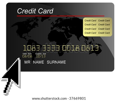 Internet shopping , black credit card with arrow cursor, jpg