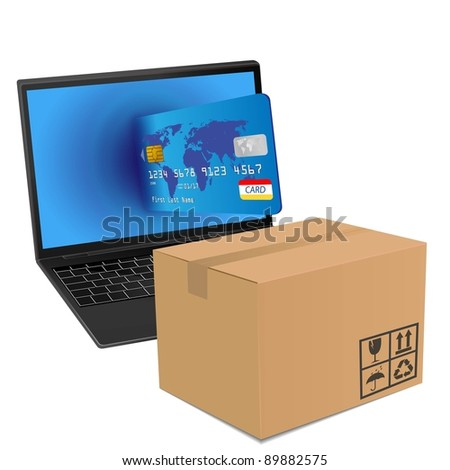 internet shopping with laptop and credit card