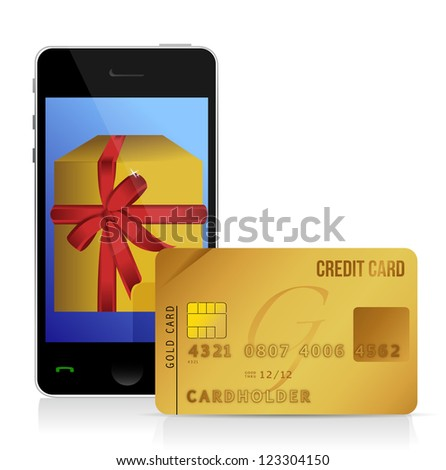 internet shopping with smart phone and credit card illustration