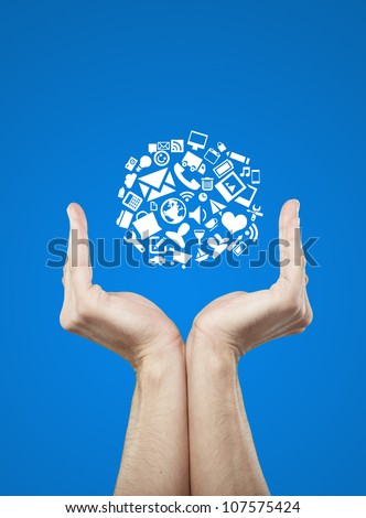 internet sign in hands,  internet concept