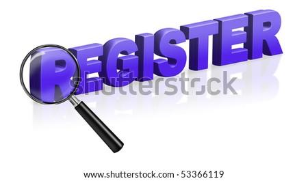 internet site registration register button 3D text register online register button register icon register here