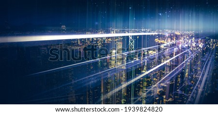 Internet speed Data communication connection network frame Modern industrial skyline city structure, city internet of things concepts wireless technology information system, abstract blue background