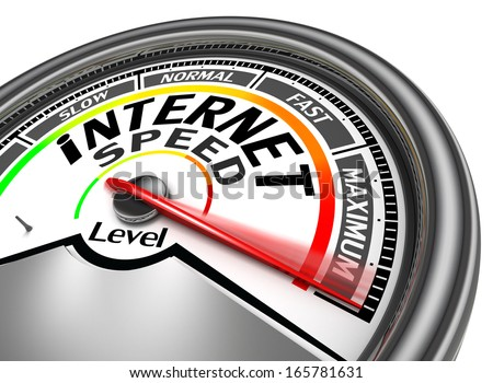 internet speed meter indicate maximum, isolated on white background