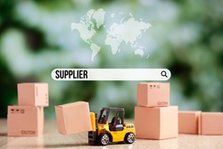 Internet supplier search bar concept with world map icon.