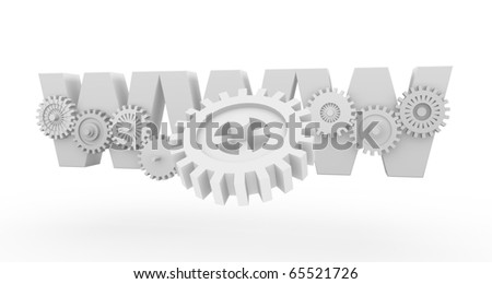 "Internet symbol ""www"" with gears"