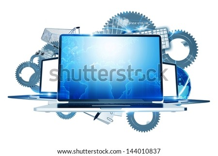 Internet Technologies - Computers Technology Illustration. Three Laptop Computers with System Elements in the Background. Metallic Gears.