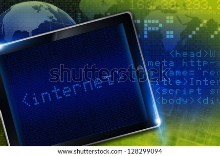 Internet Technology Concept Illustration. Digital Background and Tablet Computer. Internet Illustrations Collection.