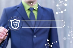 Internet technology concept of VPN. Virtual Private Network. Web Search Data Secure Encrypted Access.