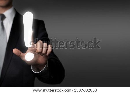 internet, technology, network, business concept - businessman in suit presses virtual touchscreen interface button -exclamation mark