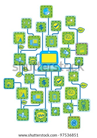 Internet Universal Networking link Green Ecology concept