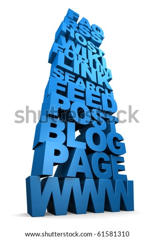 Internet Web Words Stacked Up - stock photo