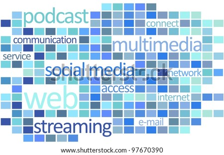Internet word cloud concept graphic with soft cold colors, white background.
