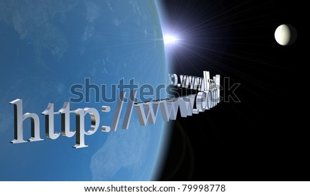 Internet world 3D Earth and moon