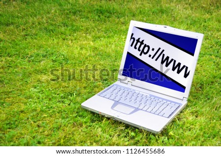 internet www or online concept with laptop in green grass #1126455686