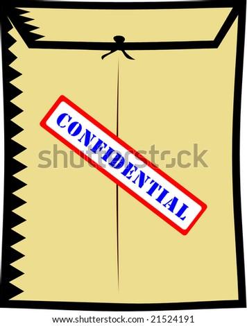 interoffice envelope with confidential sticker illustration