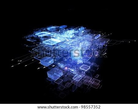 Interplay of abstract design units, arrows and lights on the subject of cloud computing, data storage and modern technologies