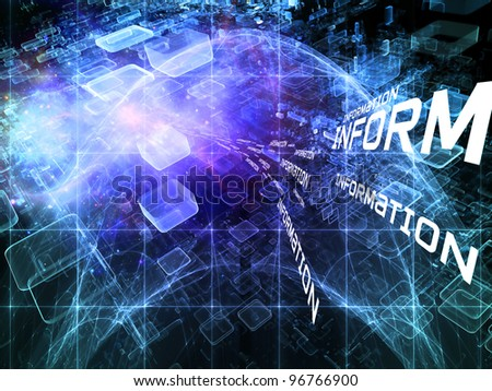 Interplay of abstract design units, information wording, colors and lights on the subject of cloud computing, data storage and modern technologies