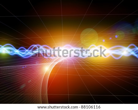 Interplay of abstract graphic elements, graceful waves and lights on the subject of directional flow, data transfer and sound wave analysis and dynamism in modern science and technology