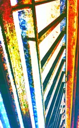 Interplay of bright colours with metallic bars