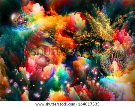 Interplay of colorful fractal forms and shapes on the subject of imagination, creativity and design.