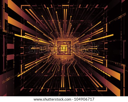 Interplay of CPU graphic and abstract design elements on the subject of digital equipment, computing and modern technologies