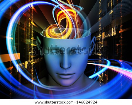 Interplay of cutout of male head and symbolic elements on the subject of human mind consciousness imagination science and creativity