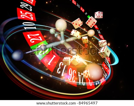 Interplay of dice, roulette wheel elements and abstract graphics on the subject of chance, luck, casino, games and risk