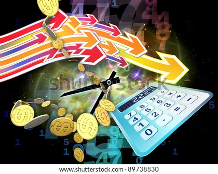 Interplay of digital calculator, clock, dollars, numbers and colors on the subject of calculation, deadline and office work