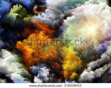 Interplay of dreamy forms and colors on the subject of dream, imagination, fantasy and abstract art - stock photo