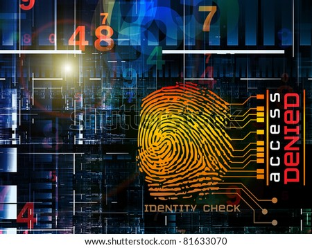 Interplay of fingerprint, digital circuitry and technological background on the subject of security, hacking, Internet accounts and privacy