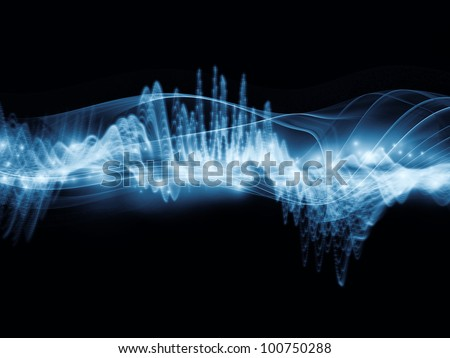 Interplay of fractal waves, lights and abstract design elements on the subject of music, sound, entertainment, data visualization  and modern technologies