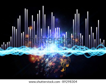 Interplay of graphic analyzer bars, music notes and abstract design elements on the subject of music, concert performance, sound and entertainment