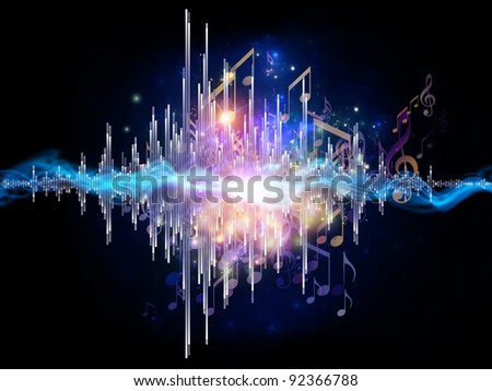Interplay of graphic analyzer bars, music notes, lights and abstract design elements on the subject of music, concert performance, sound and entertainment