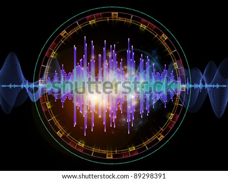 Interplay of graphic analyzer bars, music notes, lights and circular design elements on the subject of music, concert performance, sound and entertainment