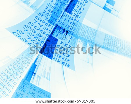 Interplay of hi-res lines, shapes and digits on the subject of Internet, telecommunications, financial transactions and business.