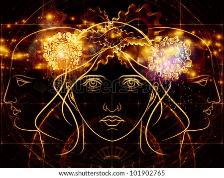 Interplay of human head outlines, lights, numbers and abstract design  elements on the subject of modern technology, digital revolution, scientific thinking, science and technology related issues