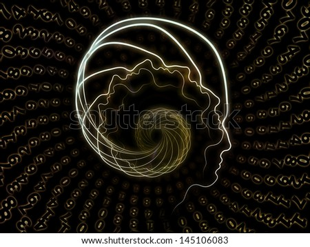 Interplay of lines of human head and digits on the subject of artificial intelligence, science, education and technology