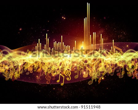 Interplay of music notes, lights and abstract design elements on the subject of music, sound, song and performance.