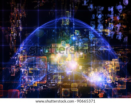 Interplay of numbers, abstract design units, colors and lights on the subject of cloud computing, data storage and modern technologies