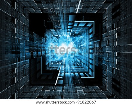 Interplay of numbers, lights and abstract technological elements on the subject of digital technologies, computers and math - stock photo