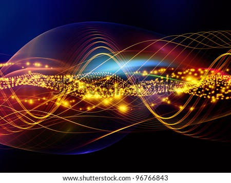 Interplay of overlapping abstract  waves, colors and lights  on the subject of technology, entertainment, communications, sound and audio - stock photo