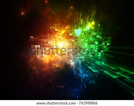 Interplay of particles in motion on the subject of motion, speed, dynamism, progress, activity and modern technologies