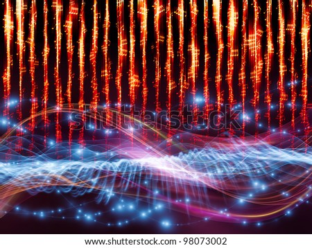 Interplay of sine waves, musical notes, lights and abstract design elements on the subject of music, sound, entertainment, data visualization  and modern technologies