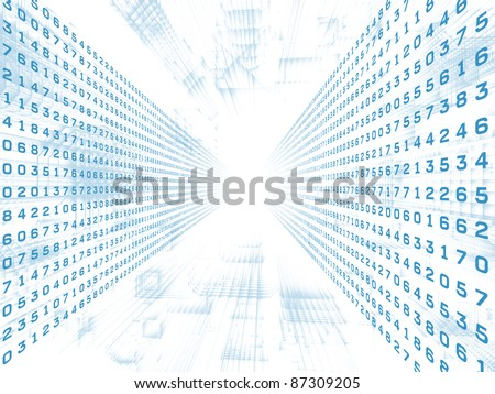 Interplay of structural lines and digits in deep perspective suitable as business or information technology background