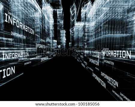 Interplay of structural lines and information technology wording in deep perspective suitable as information technology background